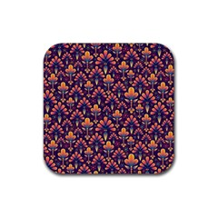 Abstract Background Floral Pattern Rubber Square Coaster (4 pack)