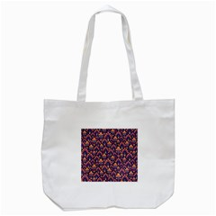 Abstract Background Floral Pattern Tote Bag (White)
