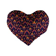 Abstract Background Floral Pattern Standard 16  Premium Flano Heart Shape Cushions