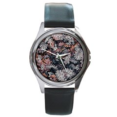 Leaf Leaves Autumn Fall Brown Round Metal Watch