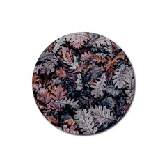 Leaf Leaves Autumn Fall Brown Rubber Coaster (Round)