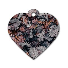 Leaf Leaves Autumn Fall Brown Dog Tag Heart (Two Sides)