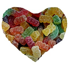 Jelly Beans Candy Sour Sweet Large 19  Premium Heart Shape Cushions