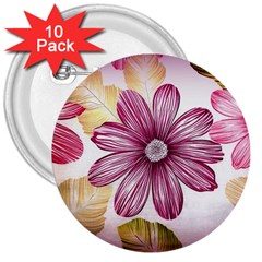 Flower Print Fabric Pattern Texture 3  Buttons (10 pack)