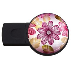 Flower Print Fabric Pattern Texture USB Flash Drive Round (2 GB)