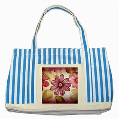 Flower Print Fabric Pattern Texture Striped Blue Tote Bag