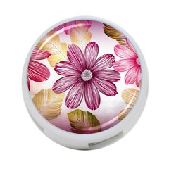 Flower Print Fabric Pattern Texture 4-Port USB Hub (One Side)