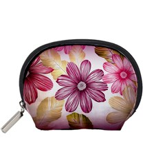 Flower Print Fabric Pattern Texture Accessory Pouches (Small)