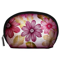 Flower Print Fabric Pattern Texture Accessory Pouches (Large)