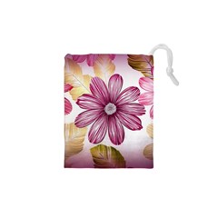 Flower Print Fabric Pattern Texture Drawstring Pouches (XS)