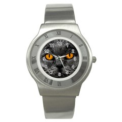 Cat Eyes Background Image Hypnosis Stainless Steel Watch
