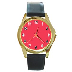 Neon Color - Brilliant Amaranth Round Gold Metal Watch