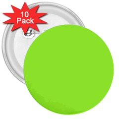 Neon Color - Brilliant Charteuse Green 3  Buttons (10 pack)