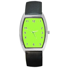 Neon Color - Brilliant Charteuse Green Barrel Style Metal Watch