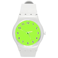 Neon Color - Brilliant Charteuse Green Round Plastic Sport Watch (M)