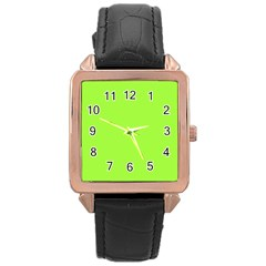 Neon Color - Brilliant Charteuse Green Rose Gold Leather Watch