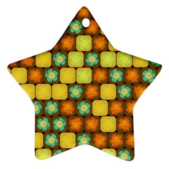 Random Hibiscus Pattern Star Ornament (Two Sides)