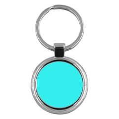 Neon Color - Brilliant Cyan Key Chains (Round)