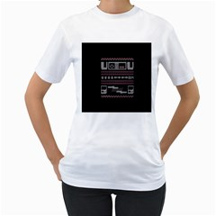 Old School Ugly Holiday Christmas Black Background Women s T Shirt (white) (two Sided)
