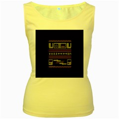 Old School Ugly Holiday Christmas Black Background Women s Yellow Tank Top