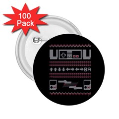 Old School Ugly Holiday Christmas Black Background 2.25  Buttons (100 pack)