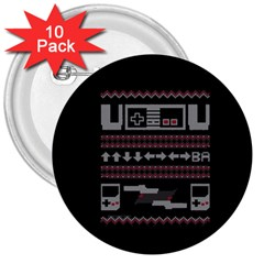 Old School Ugly Holiday Christmas Black Background 3  Buttons (10 pack)