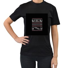 Old School Ugly Holiday Christmas Black Background Women s T Shirt (black) (two Sided)