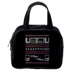 Old School Ugly Holiday Christmas Black Background Classic Handbags (One Side)