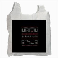 Old School Ugly Holiday Christmas Black Background Recycle Bag (Two Side)