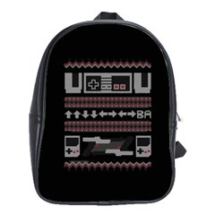 Old School Ugly Holiday Christmas Black Background School Bags(Large)