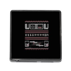 Old School Ugly Holiday Christmas Black Background Memory Card Reader (square)