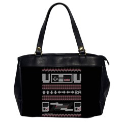Old School Ugly Holiday Christmas Black Background Office Handbags (2 Sides)