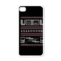 Old School Ugly Holiday Christmas Black Background Apple Iphone 4 Case (white)
