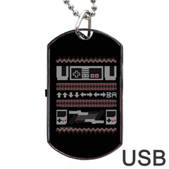 Old School Ugly Holiday Christmas Black Background Dog Tag Usb Flash (two Sides)