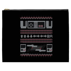 Old School Ugly Holiday Christmas Black Background Cosmetic Bag (XXXL)