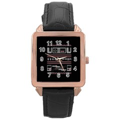 Old School Ugly Holiday Christmas Black Background Rose Gold Leather Watch