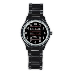 Old School Ugly Holiday Christmas Black Background Stainless Steel Round Watch