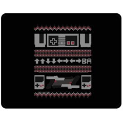 Old School Ugly Holiday Christmas Black Background Double Sided Fleece Blanket (Medium)