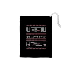 Old School Ugly Holiday Christmas Black Background Drawstring Pouches (small)