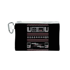 Old School Ugly Holiday Christmas Black Background Canvas Cosmetic Bag (S)