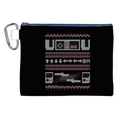 Old School Ugly Holiday Christmas Black Background Canvas Cosmetic Bag (XXL)
