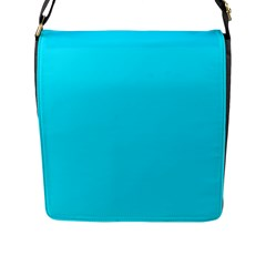 Neon Color - Light Brilliant Arctic Blue Flap Messenger Bag (L)