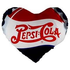 Pepsi Cola Large 19  Premium Flano Heart Shape Cushions