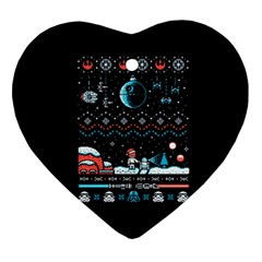 That Snow Moon Star Wars  Ugly Holiday Christmas Black Background Ornament (heart)