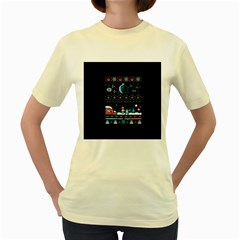 That Snow Moon Star Wars  Ugly Holiday Christmas Black Background Women s Yellow T Shirt