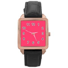 Neon Color - Light Brilliant Crimson Rose Gold Leather Watch