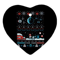That Snow Moon Star Wars  Ugly Holiday Christmas Black Background Heart Ornament (two Sides)