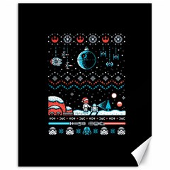 That Snow Moon Star Wars  Ugly Holiday Christmas Black Background Canvas 16  x 20