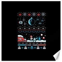 That Snow Moon Star Wars  Ugly Holiday Christmas Black Background Canvas 20  x 20