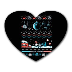 That Snow Moon Star Wars  Ugly Holiday Christmas Black Background Heart Mousepads